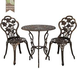 Outdoor Bistro Set Patio Bistro Table Set 3 Piece Table and Chairs Garden Patio Furniture Chat S ...