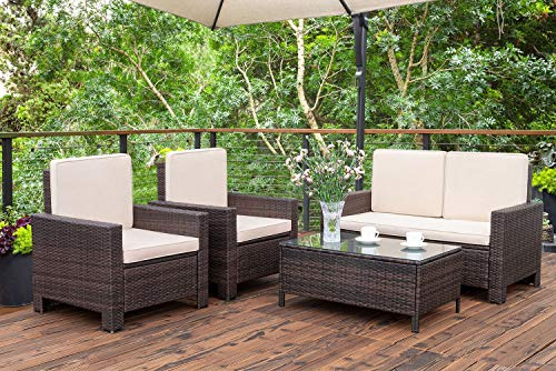 Homall 5 Pieces Outdoor Patio Furniture Sets Rattan Chair