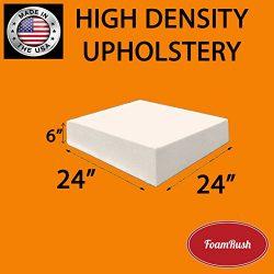 FoamRush 6″ H x 24″ W x 24″ L Upholstery Foam Cushion High Density (Chair Cush ...