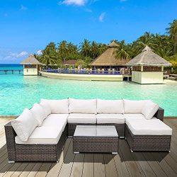 P PURLOVE 8 PCS Rattan Cushioned Sectional Sofa Outdoor Garden PE Wicker Conversation Set Lawn P ...