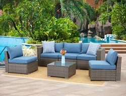 Wisteria Lane 6-Piece Outdoor Furniture Set Modular Wicker Patio Sectional Sofa Couch for Garden ...