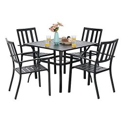 PHI VILLA 5 Piece Metal Outdoor Indoor 37″ Square Dining Table and Arm Chairs – Umbr ...