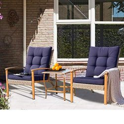 SUNCROWN Outdoor Furniture 3-Piece Patio Bistro Set: Grey Wicker Patio Furniture W/Wood-Grain Ar ...