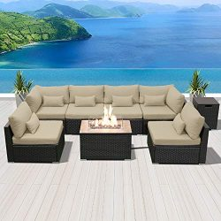 Modenzi Outdoor Sectional Patio Furniture with Propane Fire Pit Table Espresso Brown Wicker Resi ...