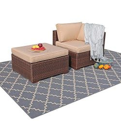 Patiorama 2 Piece Outdoor Patio Furniture Set, All Weather Wicker Patio Sectional Sofa Set with  ...
