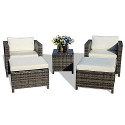 PATIORAMA 5-Piece Patio Conversation Set Outdoor Chairs and Ottomans Sets PE Wicker Grey Rattan  ...