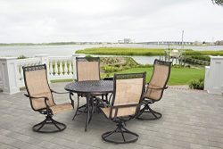 Hanover Manor 5 Piece Outdoor Dining Set with Four Swivel Rockers