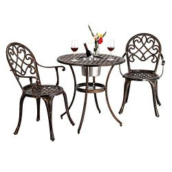 Bonnlo 3 Piece Bistro Set with Ice Bucket, Antique Outdoor Patio Furniture Weather Resistant Gar ...