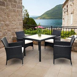Tangkula 5PCS Patio Wicker Dining Set, Outdoor Lawn Garden Wicker Rattan Table and 4 Chairs, Sof ...