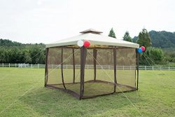 GOJOOASIS Outdoor Patio Gazebo 10×10 for Party 2 Tier Canopy Tent w/Mesh Sidewalls 10× ...