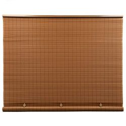 Lewis Hyman Cord Free 1/4 Inch Oval PVC Shade, Woodgrain, 48 Inches x 72 Inches Roll Up Blind