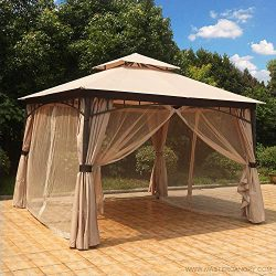 MASTERCANOPY Patio Gazebo 11.5×11.5 Round Post Gazebo Canopy Iron Shelter with Mosquito Netting  ...