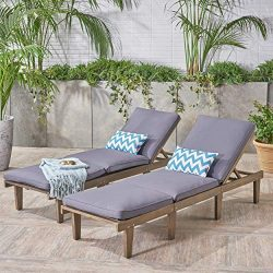 Great Deal Furniture 304426 Alisa Outdoor Acacia Wood Chaise Lounge with Cushions (Set of 2), Da ...