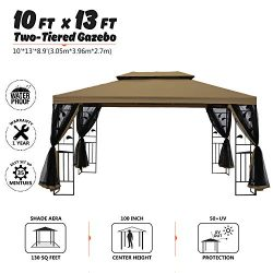 suna outdoor 10×13 Ft Outdoor Gazebo Steel Frame Two-Tiered Top Canopy, Leaf Screen Decor G ...