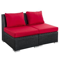 2 PCS Outdoor Patio Furniture Set Red – Modern Rattan Wicker Sofa with Cushions for Garden ...