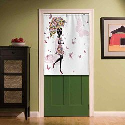 YOLIYANA Girls Non Fading Door Curtain,Girl with Floral Umbrella and Dress Walking with Butterfl ...