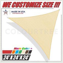 ColourTree 24′ x 24′ x 24′ Beige Sun Shade Sail Triangle Canopy, UV Resistant  ...