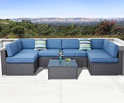 Solaura Outdoor Furniture Set 7-Piece Wicker Furniture Modular Sectional Sofa Set Dark Gray Wick ...