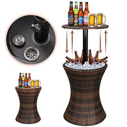 Super Deal Height Adjustable Cool Bar Rattan Style Outdoor Patio Table Cooler All-Weather Wicker ...