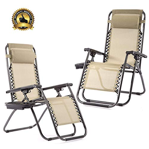 Bms Set Of 2 Zero Gravity Chairs Patio Reclining Folding