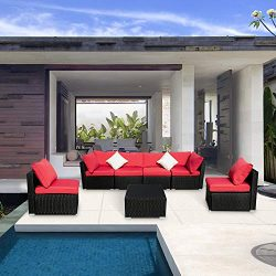 Leisurelife 7 Pcs Outdoor Patio Furniture Set Red, Sectional Sofa with Cushion and Glass Coffee  ...