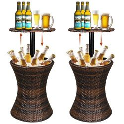Super Deal 3in1 Outdoor Wicker Bar Table + Cooler + Cocktail Coffee Table All in One, Rattan Sty ...
