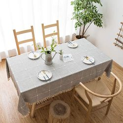 Grey Rustic Square Table Cloth (55″x70″) – Cotton Linen Table Cloths for Kitch ...