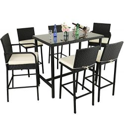 Leaptime Outdoor Dining Set 7pcs Bar Table and Stools Patio Furniture Garden Dining Table Sets L ...