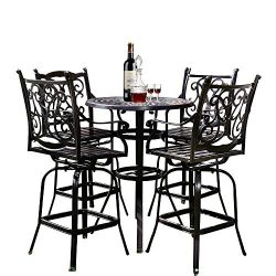YUSING 5 Piece Patio Bistro Set,Cast Aluminum Antique Copper Outdoor Furniture Round Bar Height ...