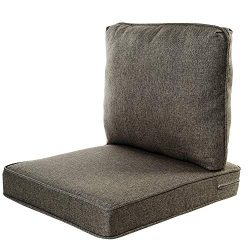 Quality Outdoor Living All Weather Deep Seating Patio Chair Seat and Back Cushion Set, 22-Inch b ...