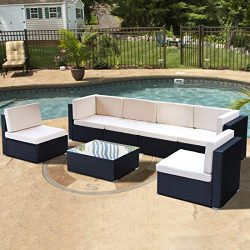 Patio Outdoor Furniture Couch PE Black Wicker Garden Sectional Rattan with Cushions Party Conver ...