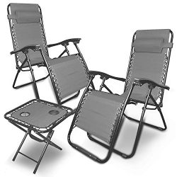 88Rose Zero Gravity Chairs Table with Cup Holder Set 3 Pieces Adjustable Folding Lounge Recliner ...