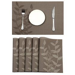 Pauwer Placemats Set of 6 for Dining Table Washable Woven Vinyl Placemat Non-Slip Heat Resistant ...