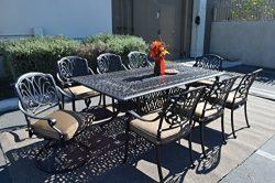 Elizabeth Outdoor Patio 9pc Dining Set 44″ X 84″ Cast Aluminum Sunbrella Sesame Color