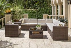 Solaura 7-Piece Outdoor Sectional Furniture Brown Wicker Conversation Sofa Set with Light Brown  ...