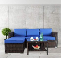 Outime Patio Furniture Sofa 5pcs Brown Rattan Wicker Couch Set Garden Sectional Home Furniture w ...
