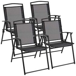 Flamaker Sets of 4 Patio Folding Sling Chairs Textilene Outdoor Chairs Portable Foldable Patio D ...