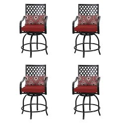 PHI VILLA Coating Old Craft Patio Swivel Height Bar Stools Armrest Chairs Set of 4-24″ Sea ...