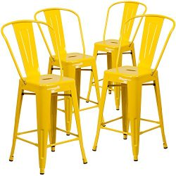 "Flash Furniture 4 Pk. 24"" High Yellow Metal Indoor-Outdoor Counter Height Stool with Back"