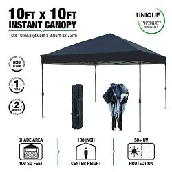 kdgarden 10 x 10 Ft. Outdoor Pop Up Waterproof Canoy with 300D Top, Portable Silver Coated UV Ca ...