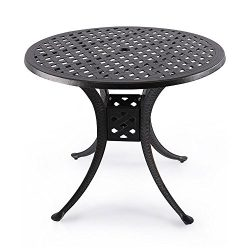 Nuu Garden 36″ Indoor Outdoor Patio Bistro Solid Cast Aluminum Round Dining Conversation T ...