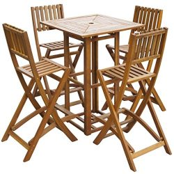 Tidyard 5 Pieces Outdoor Bar Set and Folding Bar Chairs with Footrests Space Saving Dining Set G ...