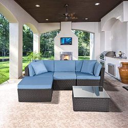 ECOLINEAR 5PCS Outdoor PE Wicker Rattan Sofa Patio Sectional Furniture Set w/Blue Seat & Bac ...