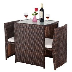 Giantex 3 PCS Cushioned Outdoor Wicker Patio Set Convention Bistro Set Garden Lawn Sofa Furnitur ...