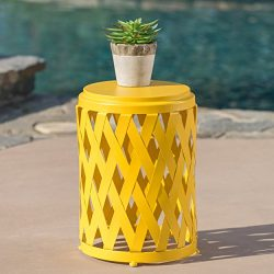 Christopher Knight Home 302108″ Selen CKH Outdoor Accent Tables, Matte Yellow