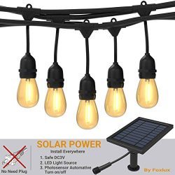 Foxlux Solar String Lights – 48FT LED Outdoor String Light – Shatterproof, Waterproo ...