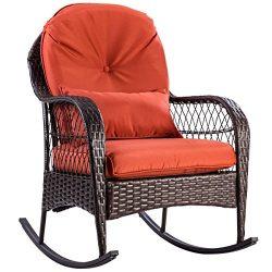 Tangkula Wicker Rocking Chair Outdoor Porch Garden Lawn Deck Wicker Rocker Patio Furniture w/Cus ...
