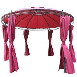 Outsunny 11.5' Steel Fabric Round Soft Top Outdoor Patio Dome Gazebo Shelter with Curtains -Wine Red