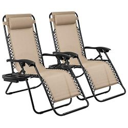 Devoko Patio Zero Gravity Chair Outdoor Adjustable Folding Lounge Chairs Pool Side Using Reclini ...