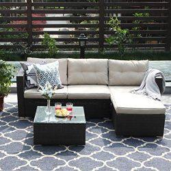 PHI VILLA 3-Piece Patio Furniture Set Rattan Sectional Sofa Wicker Furniture, Beige